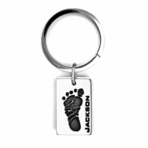 Footprint Keychain Dog Tag