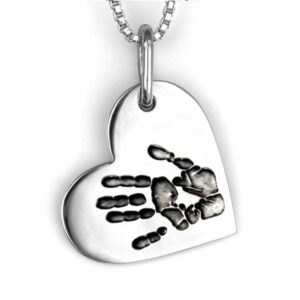 Silver Handprint Heart on Side Necklace