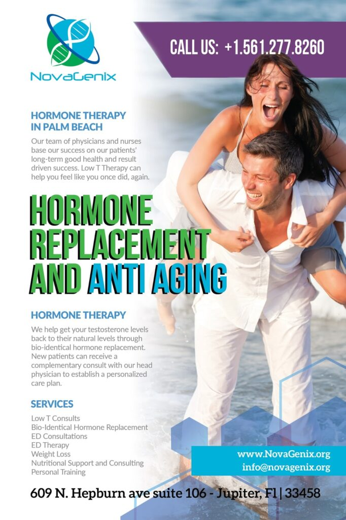 NovaGenix hormone therapy clinic offers TRT and HRT for men and women in the West Palm Beach area, near Jupiter, Palm Beach Gardens, Juno Beach and Tequesta.