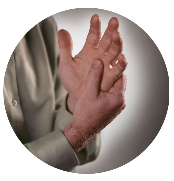 A man with arthritic joint pain messaging his hand