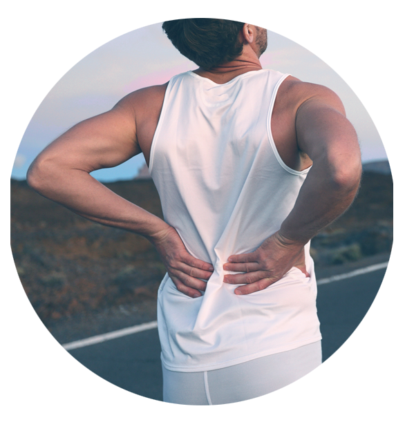 A man experiencing back pain while jogging