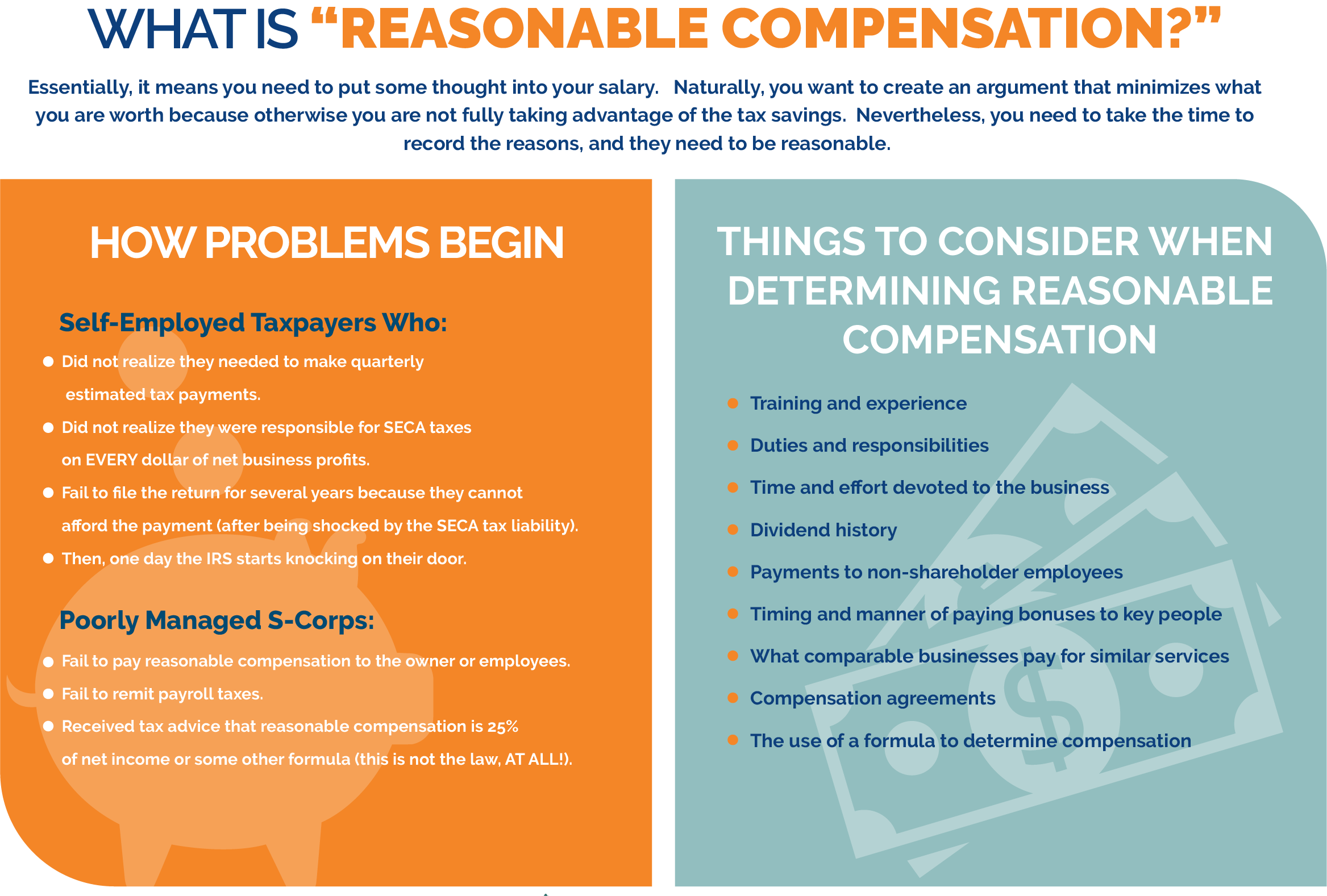 "An illustration and definition of what ""reasonable compensation"" means for S-Corp owners"