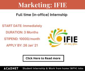 Marketing: Internship: Delhi: Interactive Forum On Indian Economy (IFIE):  26 Jan' 21