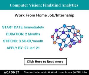 Computer Vision: Work From Home Job/Internship: FindMind Analytics Private Limited: 27 Jan' 21