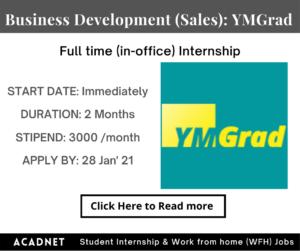 Business Development (Sales): Internship: Delhi: YMGrad: 28 Jan' 21
