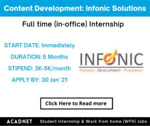 Content Development (English): Internship: Jaipur: Infonic Solutions: 30 Jan' 21