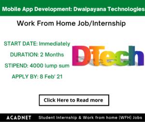 Mobile App Development: WFH Job/Internship: Dwaipayana Technologies: 8 Feb' 21