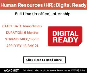 Human Resources (HR): Internship: Hyderabad: Digital Ready: 13 Feb' 21