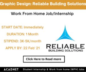 Graphic Design: Work From Home Job/Internship: Reliable Building Solutions: 22 Feb' 21