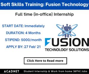 Soft Skills Training & Coordination: Internship: Pune: Fusion Technology Solutions: 27 Feb' 21
