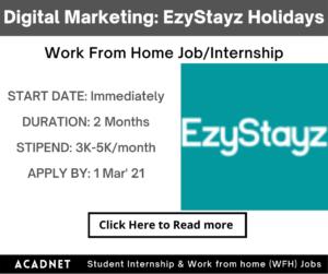 Digital Marketing: Work From Home Job/Internship: EzyStayz Holiday Rentals: 1 Mar' 21