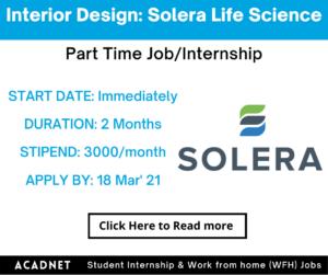 Interior Design: Part Time Job/Internship: Delhi: Solera Life Science Private Limited: 18 Mar' 21