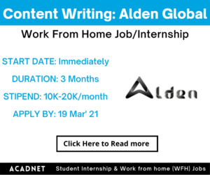 Content Writing: Work From Home Job/Internship: Alden Global Value Advisors: 19 Mar' 21