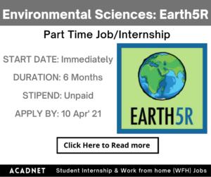 Environmental Sciences: Part Time Job/Internship: Multiple locations: Earth5R: 10 Apr' 21