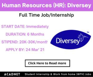Human Resources (HR): Internship: Mumbai: Diversey: 24 Mar' 21
