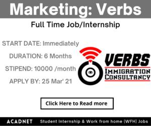 Marketing: Internship: Mumbai: Verbs: 25 Mar' 21