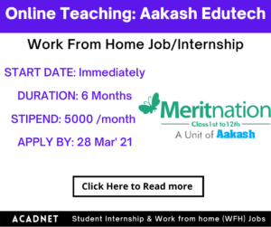 Online Teaching: Work From Home Job/Internship: Aakash Edutech Private Limited: 28 Mar' 21