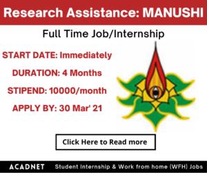Research Assistance (Medieval Indian History): Internship: Delhi: MANUSHI Centre For Law Justice & Civilizational Studies: 30 Mar' 21