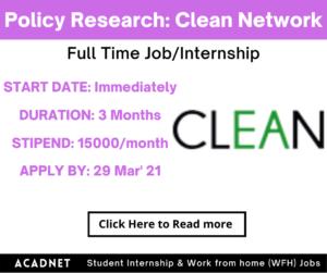 Policy Advocacy/Research: Internship: Delhi: Clean Energy Access Network: 29 Mar' 21