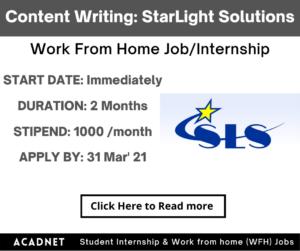 Content Writing: Work From Home Job/Internship: StarLight Solutions: 31 Mar' 21