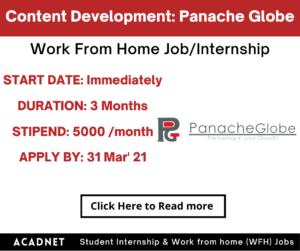 Content Development (English): Work From Home Job/Internship: Panache Globe Solutions: 31 Mar' 21