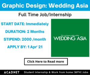 Graphic Design: Work From Home Job/Internship: Wedding Asia: 1 Apr' 21