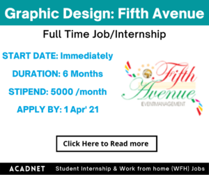 Graphic Design: Internship: Hyderabad: Fifth Avenue Event Management: 1 Apr' 21