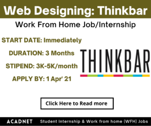 Web Designing: Work From Home Job/Internship: Thinkbar: 1 Apr' 21