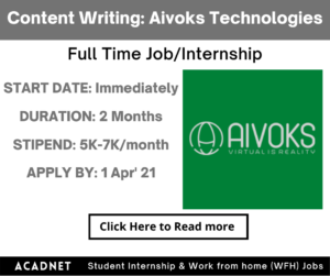 Content Writing: Internship: Delhi, Noida: Aivoks Technologies Private Limited: 1 Apr' 21