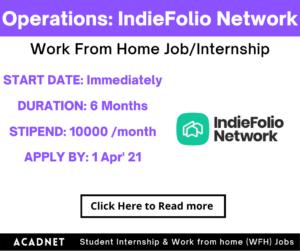 Operations: Work From Home Job/Internship: IndieFolio Network: 1 Apr' 21