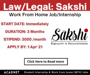 Law/Legal: Work From Home Job/Internship: Sakshi: 1 Apr' 21