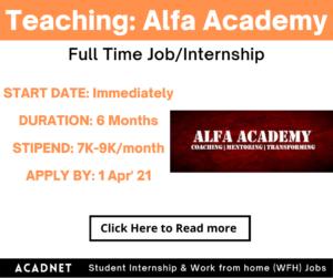 Teaching (Math & Science): Internship: Pune: Alfa Academy: 1 Apr' 21
