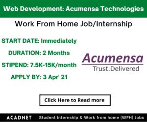 Web Development: Work From Home Job/Internship: Acumensa Technologies: 3 Apr' 21