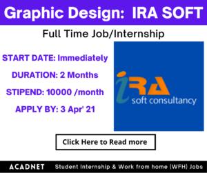 Graphic Design: Internship: Multiple locations: IRA SOFT: 3 Apr' 21