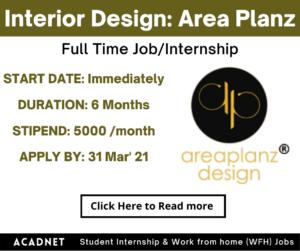 Interior Design: Internship: Pune: Area Planz: 31 Mar' 21