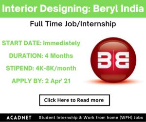 Interior Designing: Internship: Gurgaon: Beryl India: 2 Apr' 21