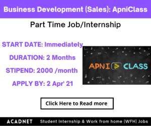 Business Development (Sales): Part Time Job/Internship: Multiple locations: ApniClass: 2 Apr' 21