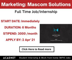 Marketing: Internship: Ahmedabad, Gandhinagar: Mascom Solutions:  2 Apr' 21