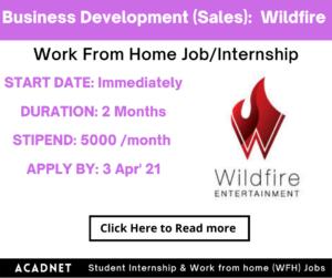Business Development (Sales): Work From Home Job/Internship: Wildfire Entertainment: 3 Apr' 21