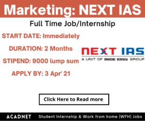 Marketing: Internship: Delhi: NEXT IAS: 3 Apr' 21