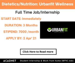 Dietetics/Nutrition: Internship: Pune: Urbanfit Wellness Private Limited: 2 Apr' 21