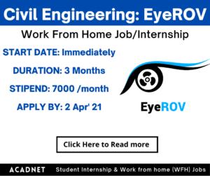 Civil Engineering: Work From Home Job/Internship: EyeROV (IROV Technologies Private Limited): 1 Apr' 21