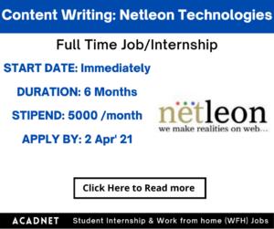 Content Writing: Internship: Jaipur: Netleon Technologies Private Limited: 2 Apr' 21