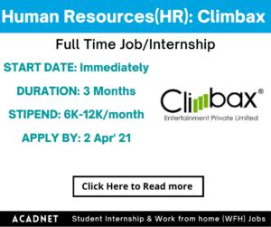 Human Resources (HR): Internship: Delhi: Climbax Entertainment Private Limited: 2 Apr' 21