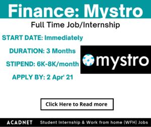 Finance: Internship: Mumbai: Mystro: 2 Apr' 21