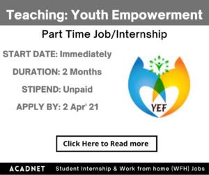 Teaching: Part Time Job/Internship: Jaipur: Youth Empowerment Foundation: 2 Apr' 21