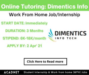 Online Tutoring (Mathematics): Work From Home Job/Internship: Dimentics Info Tech Private Limited: 2 Apr' 21