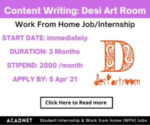 Content Editing/Writing: Work From Home Job/Internship: Desi Art Room: 5 Apr' 21