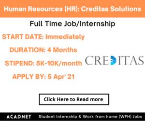 Human Resources (HR): Internship: Gurgaon: Creditas Solutions Private Limited: 5 Apr' 21