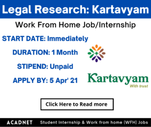 Legal Research: Work From Home Job/Internship: Kartavyam: 5 Apr' 21